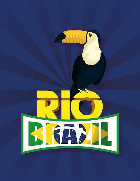 Бразильский карнавальный плакат с туканом экзотической птицей Premium векторы