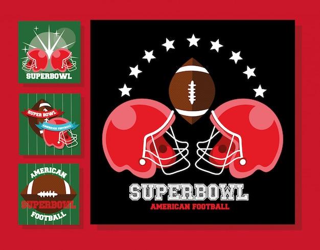 アメリカンフットボールスポーツヘルメットとバルーン Premiumベクター
