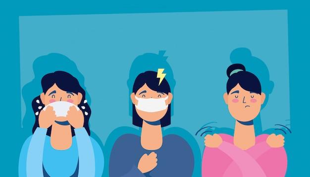 コロナウイルス症状を持つ女性のグループ Premiumベクター