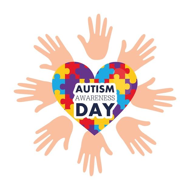 自閉症意識の日はパズルで手と心を開きます Premiumベクター