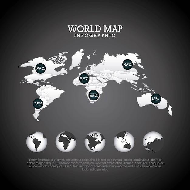 世界地図デザイン Premiumベクター