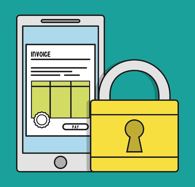 Смартфон наклейка документ бумага счет-фактура платежа значок Premium векторы