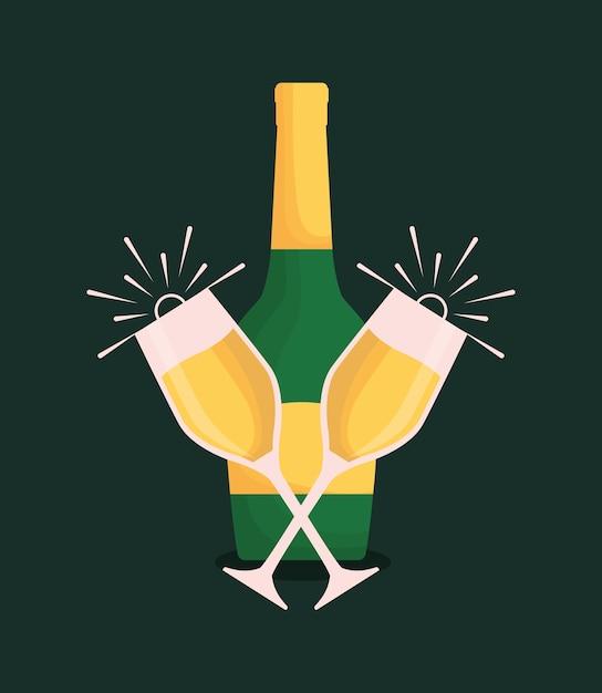 Бутылка шампанского и очки Premium векторы