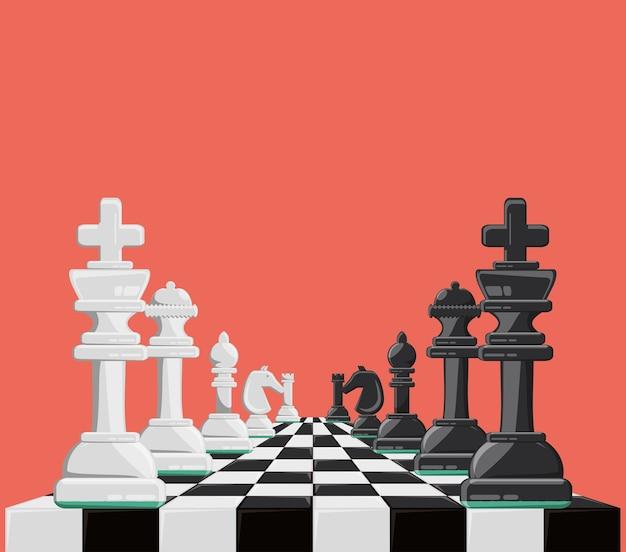 チェスボードとピースを備えたチェスゲームデザイン Premiumベクター