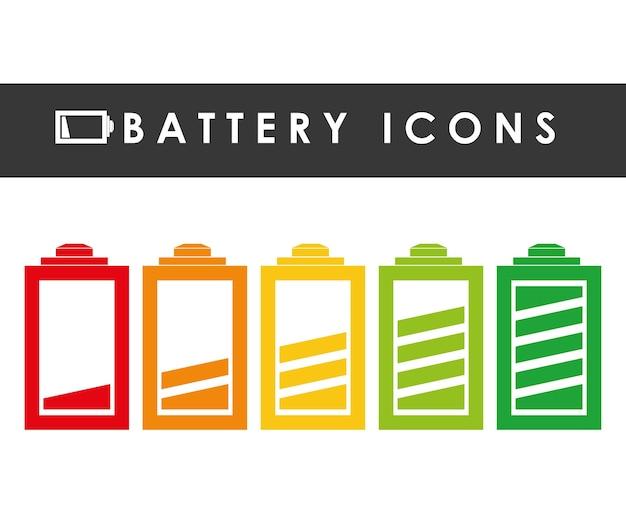 Графический дизайн значков аккумулятора Premium векторы