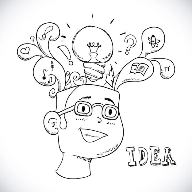 白い背景のベクトルイラスト以上のアイデアデザイン Premiumベクター