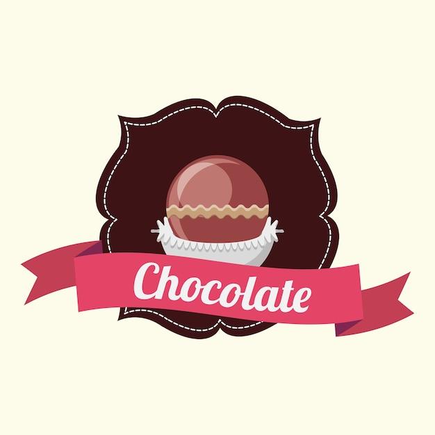 装飾的なフレームと白い背景の上にチョコレートトリュフとリボンのエンブレム Premiumベクター