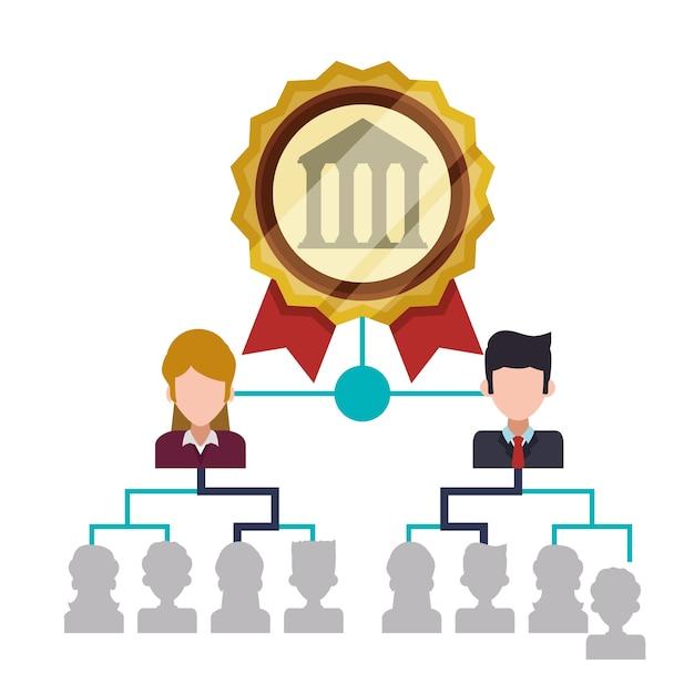 銀行職員構造管理組織 Premiumベクター