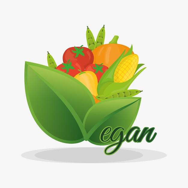 ビーガン健康栄養果物と野菜 Premiumベクター
