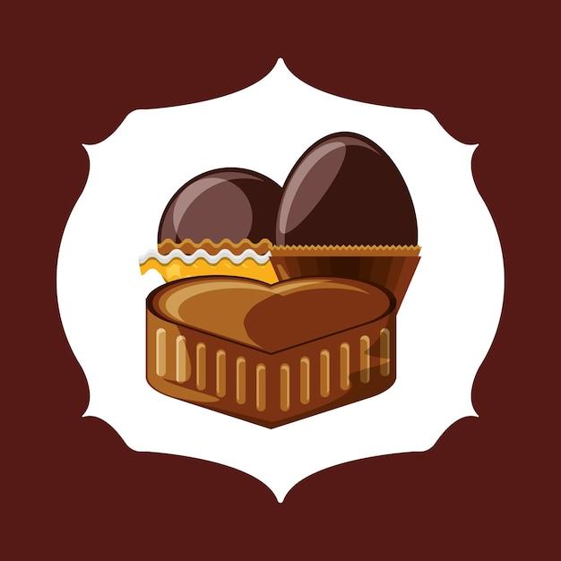 茶色の背景の上にチョコレートとトリュフのアイコンの心のエンブレム Premiumベクター