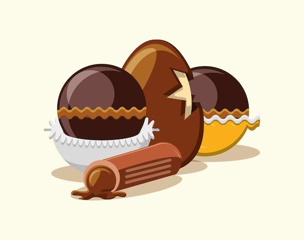 白い背景の上にチョコレートの卵とトリュフ Premiumベクター