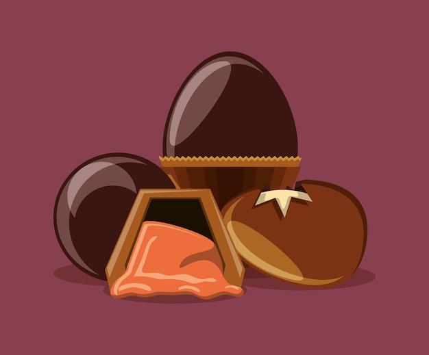 チョコレートの卵と紫色の背景上のトリュフ Premiumベクター