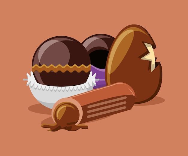 チョコレートの卵とオリーブの背景にトリュフ Premiumベクター