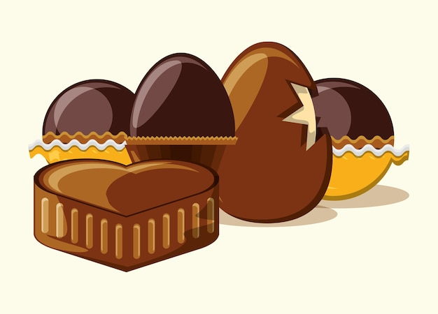 チョコレートの卵とチョコレートの心、トリュフと白い背景 Premiumベクター