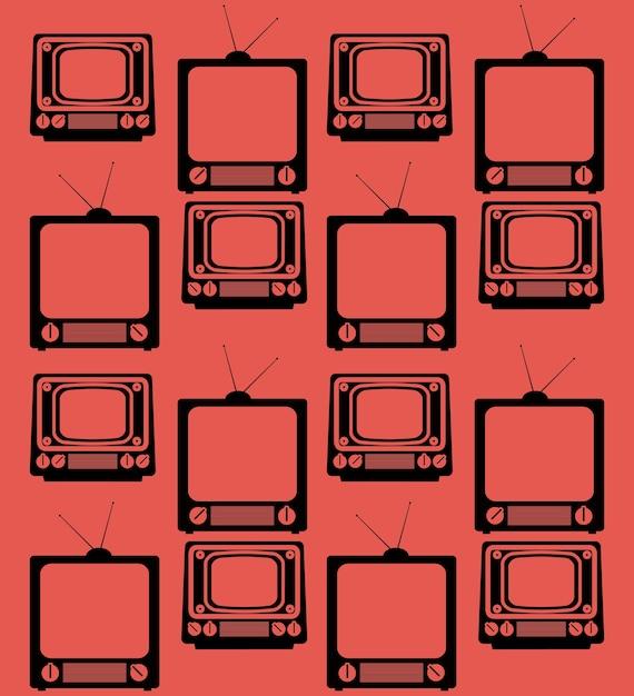 テレビのヴィンテージデバイスシームレスパターンを設定する Premiumベクター