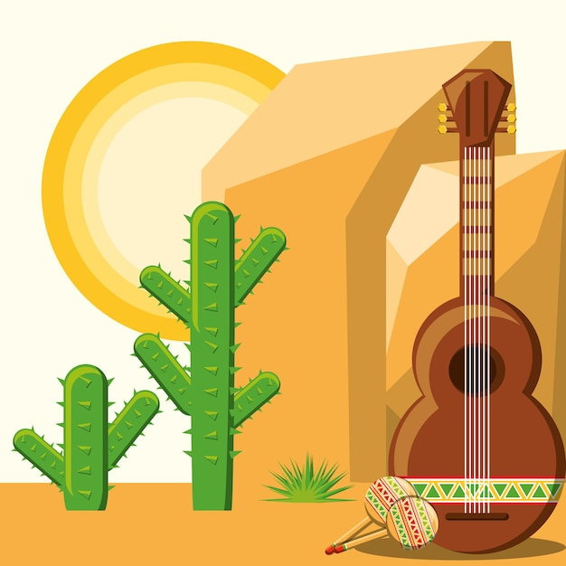 サボテンの風景の背景と砂漠の上にギターとメキシコ Premiumベクター