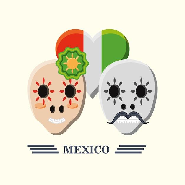 メキシコの砂糖の頭蓋骨と心臓のメキシコの旗の白い背景の上に Premiumベクター