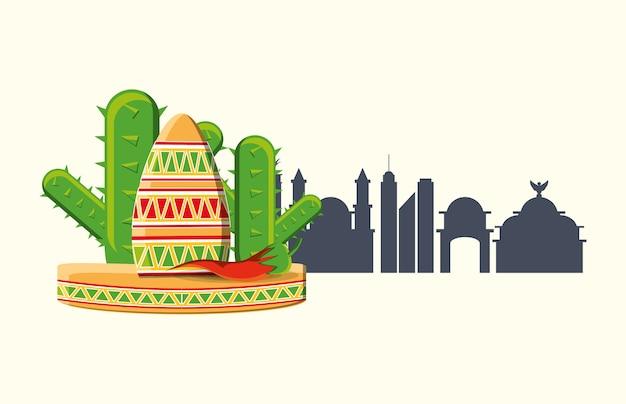 メキシコの帽子と白い背景の上にメキシコの都市のシルエットとサボテン Premiumベクター