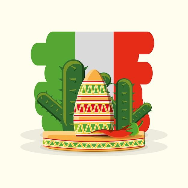 メキシコの国旗、メキシコの帽子、サボテン、白い背景 Premiumベクター