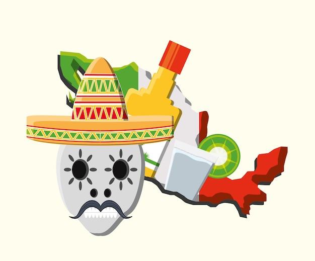 白い背景の上にテキーラのボトルとメキシコの頭蓋骨と国の地図 Premiumベクター