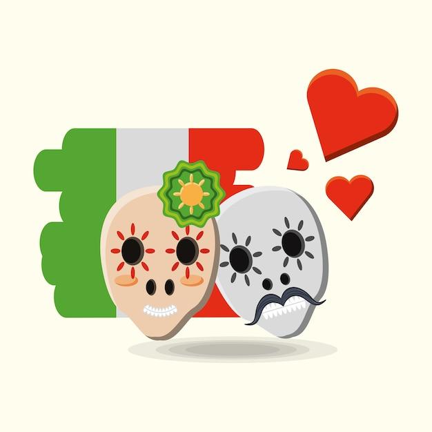 メキシコの砂糖の頭蓋骨と白い背景の上にメキシコの旗の心 Premiumベクター