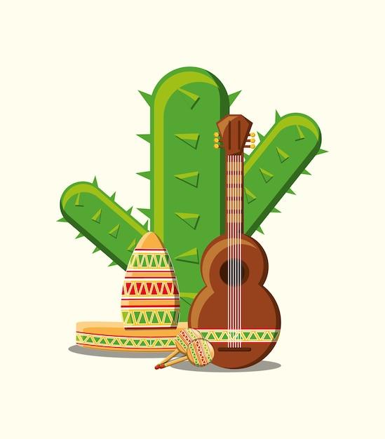 白背景上にギターとサボテンを持つメキシコの帽子 Premiumベクター