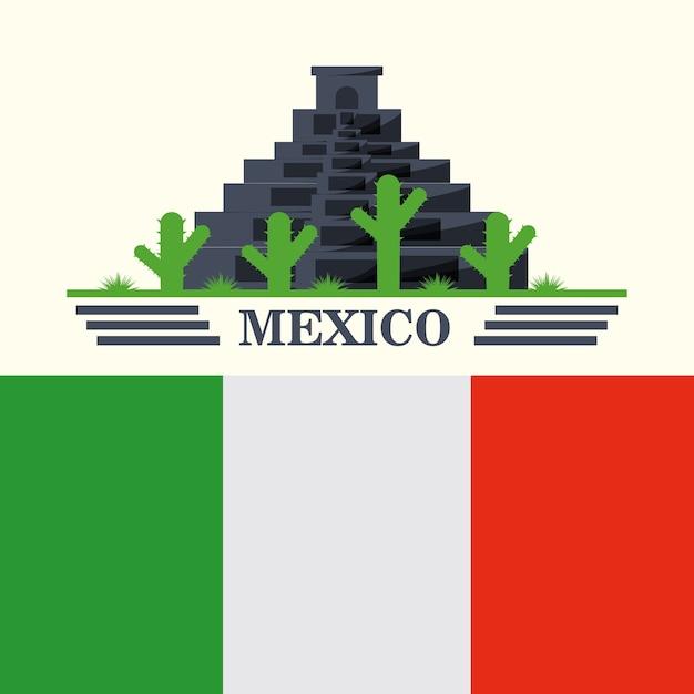 白い背景の上にメキシコのピラミッドとサボテンとの旗 Premiumベクター