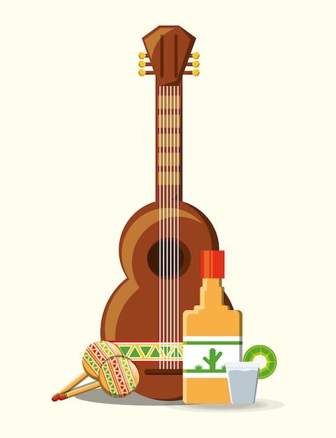 白い背景のメキシカンギターとテキーラのボトル Premiumベクター