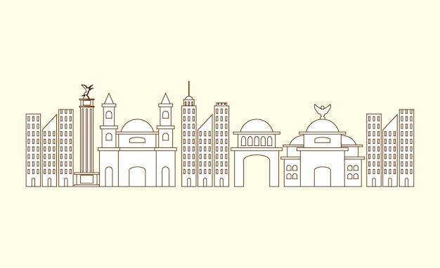 白い背景の上のメキシコの都市の建物 Premiumベクター