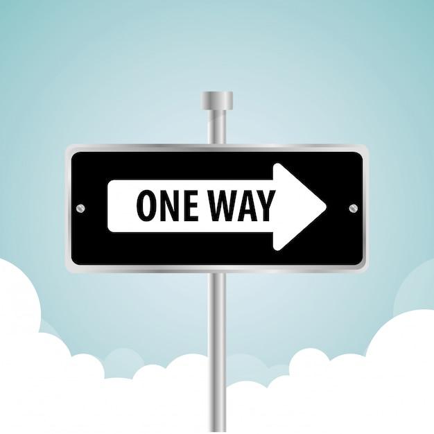 片道道路標識広告デザイン、 Premiumベクター