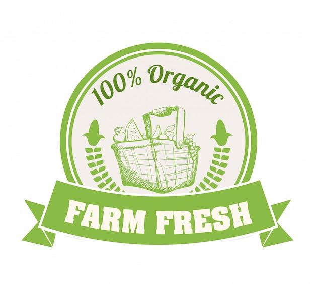 Дизайн органических продуктов питания Premium векторы