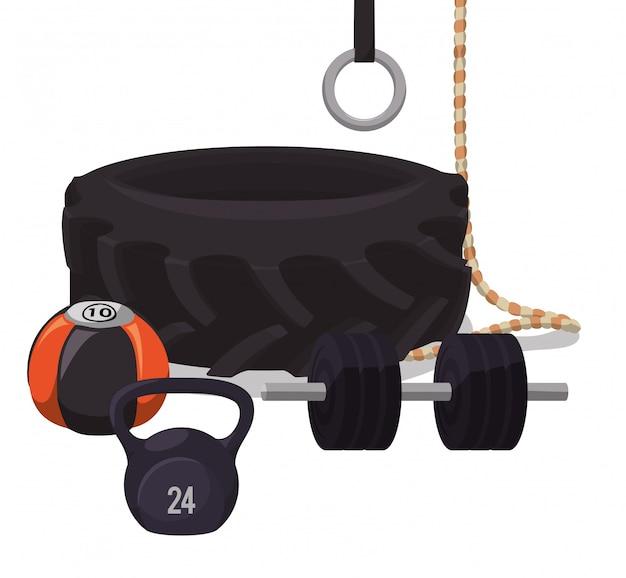 Тренажерный зал и фитнес-дизайн Premium векторы