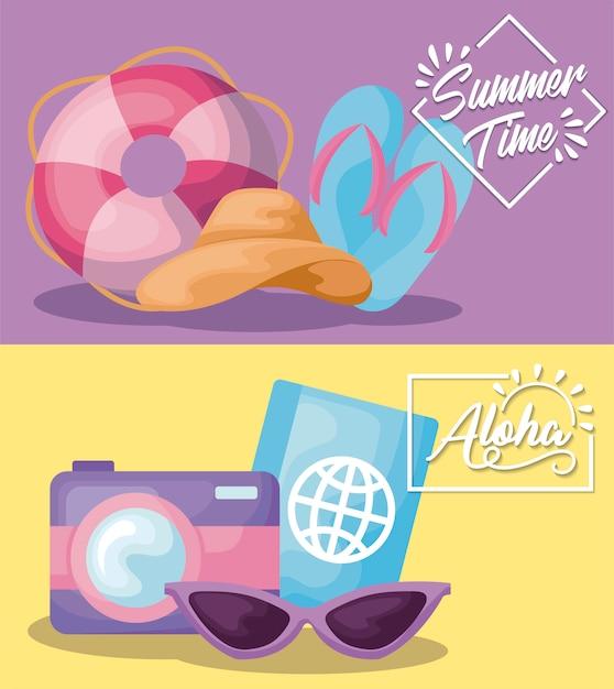 サンダルとパスポートの夏時間休日バナー 無料ベクター