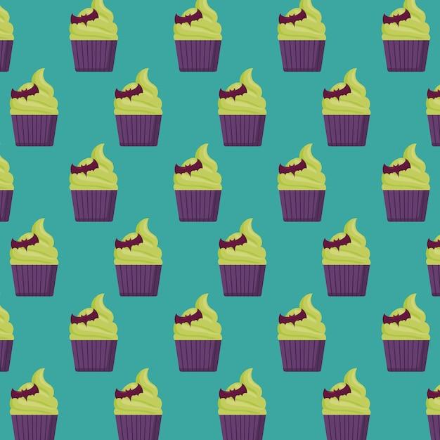 ハロウィンケーキのパターン 無料ベクター