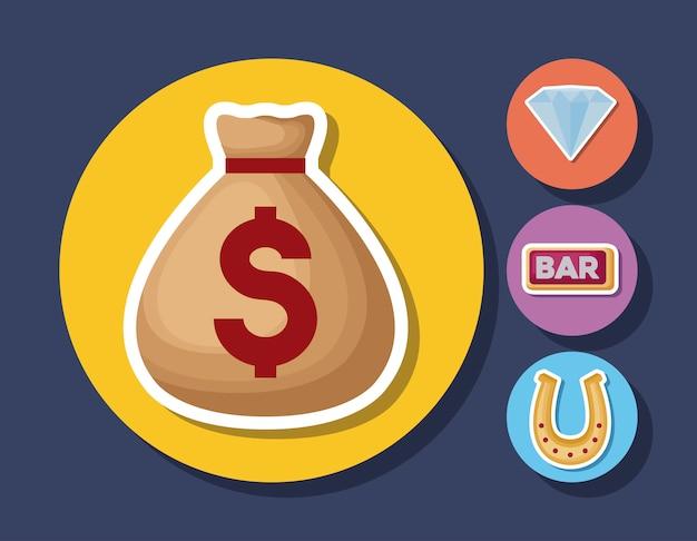 カジノ関連のアイコン 無料ベクター