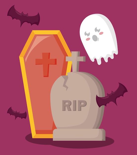 棺とアイコンハロウィーンの墓 無料ベクター