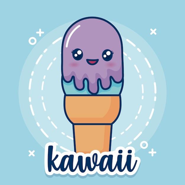 Каваи мороженое значок Бесплатные векторы