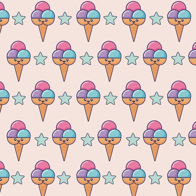 Каваи мороженое Бесплатные векторы