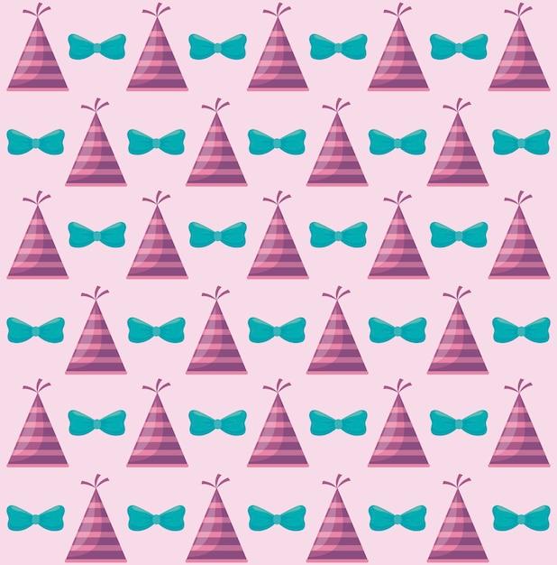 弓装飾的なパターンを持つパーティーハット 無料ベクター
