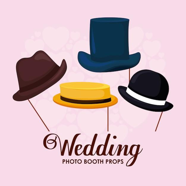 スティックでエレガントな紳士帽子のセット 無料ベクター