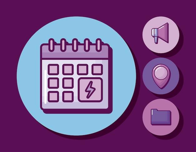 Календарь напоминание с набором значков Бесплатные векторы