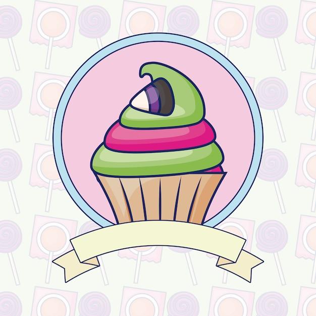 リボンとおいしい甘いカップケーキ 無料ベクター