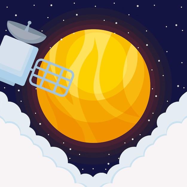衛星スペースを持つ太陽の宇宙 Premiumベクター
