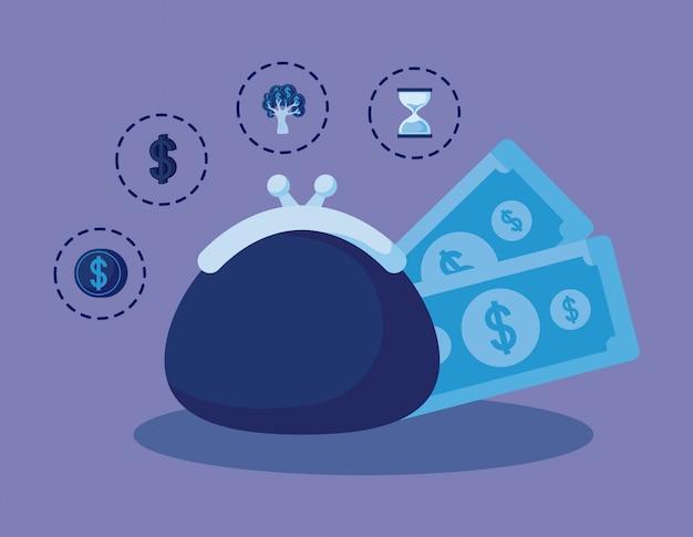 コイン財布セットアイコン経済金融 Premiumベクター