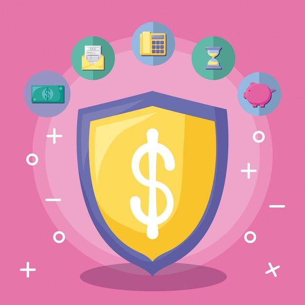 経済と盾アイコンセットと金融 Premiumベクター