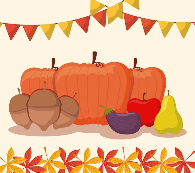 感謝祭の日のためのカボチャの食べ物 Premiumベクター