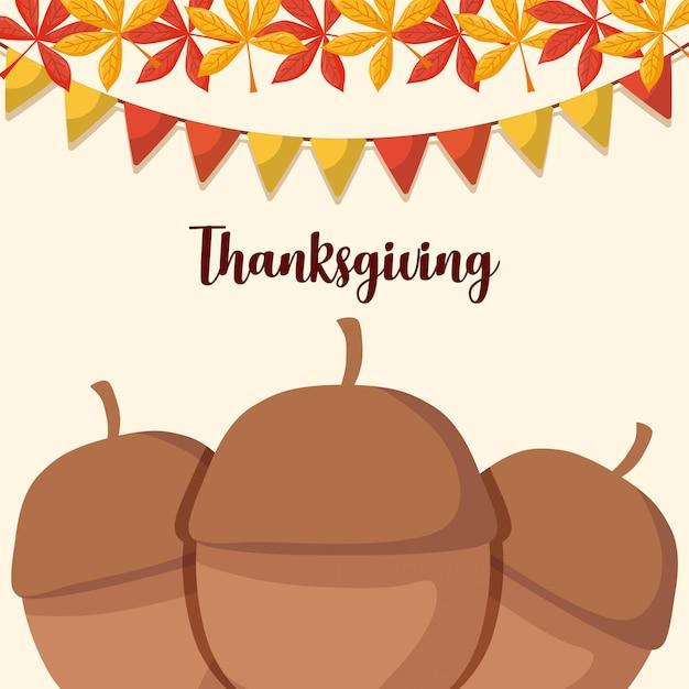 感謝祭の日のための葉と花輪のナッツ Premiumベクター