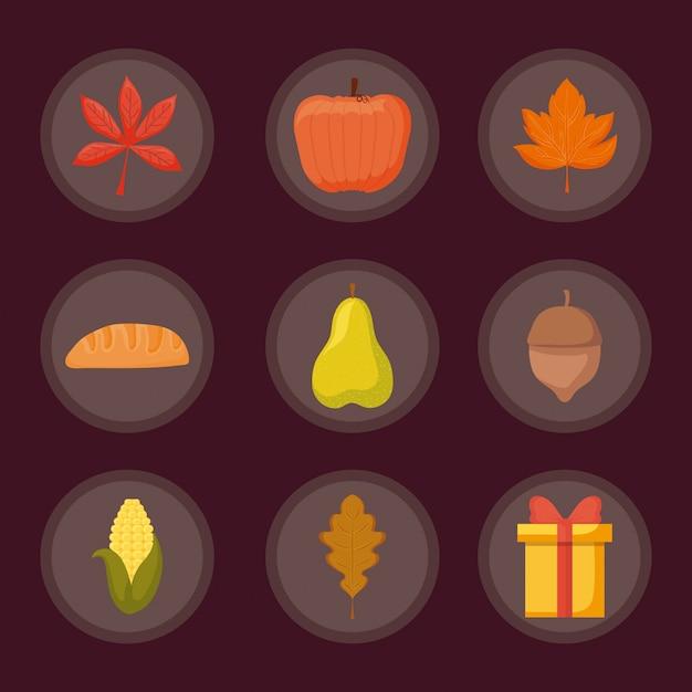 感謝祭の日のセット Premiumベクター