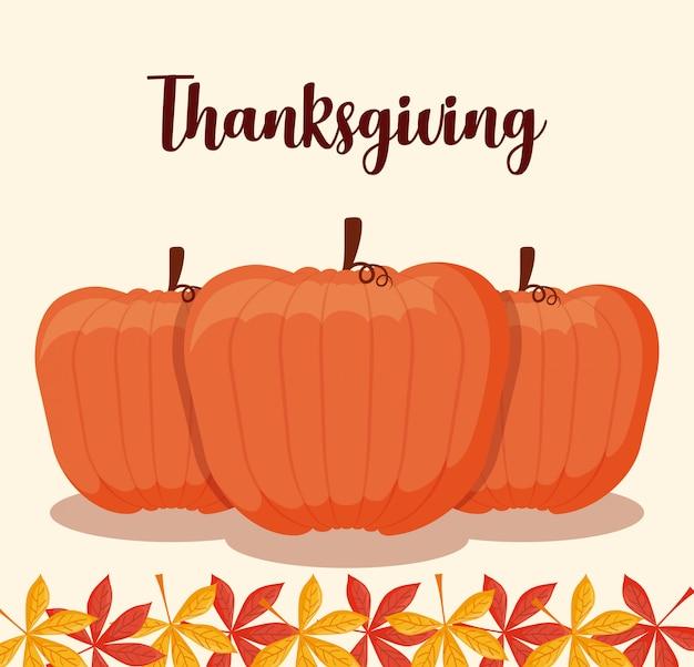 カエデの葉と感謝祭の日のためのカボチャの食べ物 Premiumベクター