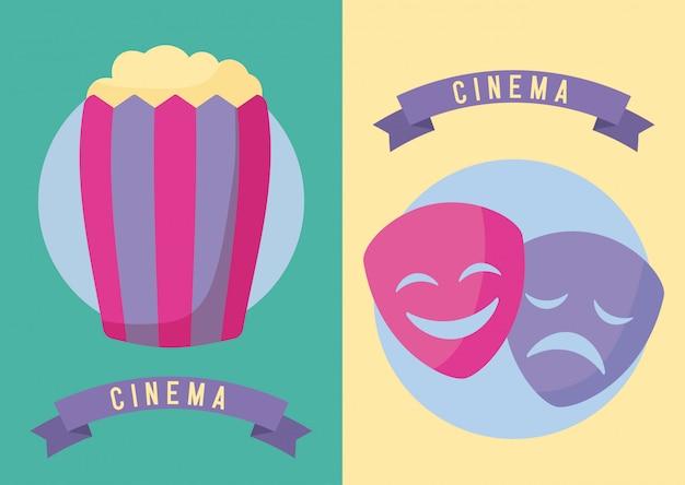 マスク映画館映画とポップコーン Premiumベクター